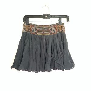 Free People Gray Gauze Boho Festival Beaded Skirt